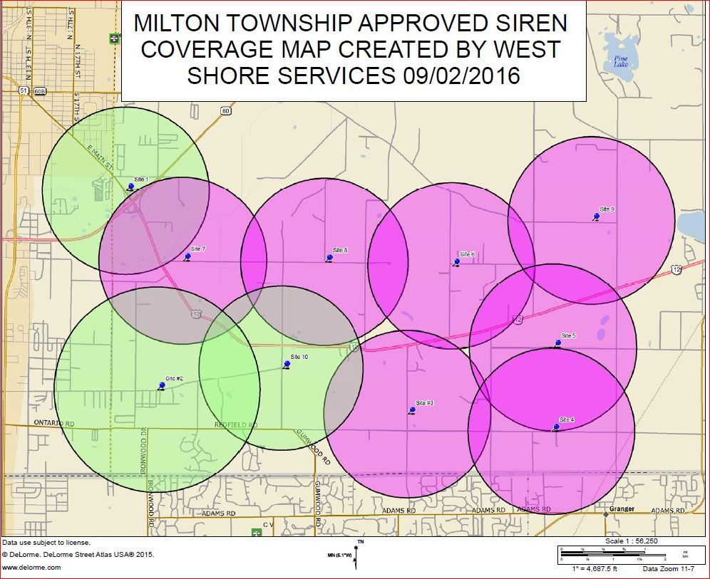 Milton Township Siren Warning Map